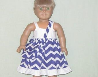 American Girl 18 inch Doll Dress Purple Chevron with Purse
