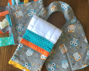 NEW...Owl Minky Baby Gift Set - Lovey, Burp Cloth and Bib