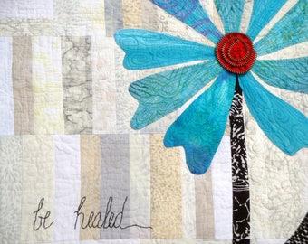 Be Healed - Contemporary Fiber Art Wall Quilt | Aqua Art