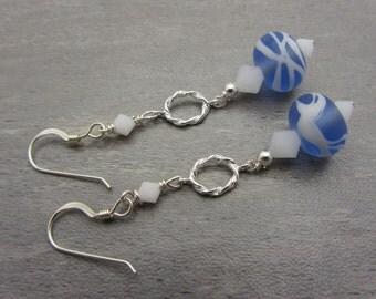Lampwork Earrings Blue Lampwork Dangle Earrings Glass Bead Earrings Drop Earrings With Swarovski Crystals Mothers Day Gift SRAJD Handmade