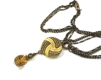 SALE Antique Button Necklace with Faceted Glass bead