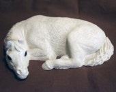 Stone Cast Lazy Pony Blank Statue Figureine W/Glass Eyes