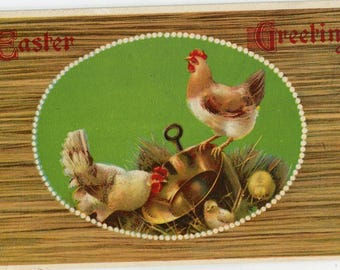 Vintage Easter Postcard with Chickens, copper pot, Easter greetings, happy Easter postcard, paper ephemera, chickens postcard