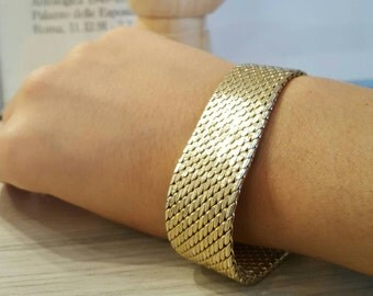 Made in Italy, vintage from 50s, fifties, Italian mesh chainmaille bracelet, 18k gold, on sterling base