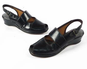 Vintage 1940s Wedges // 40s Wedges // BLACK Wedges // WW2 Wedges // 1940s Shoes // 40s Shoes // Peep Toe Peeptoe Wedges - sz 5.5