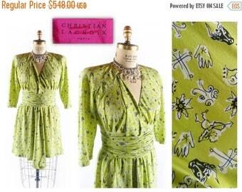40% OFF SALE Vintage 80s Dress // 1980s Dress // CHRISTIAN Lacroix Dress // Vintage Novelty Dress // Chartreuse Dress - sz L - 31 Inch Waist