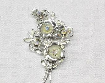 1950s Vintage Coro Large Silver Tone Flower Brooch with Aurora Borealis Rhinestones