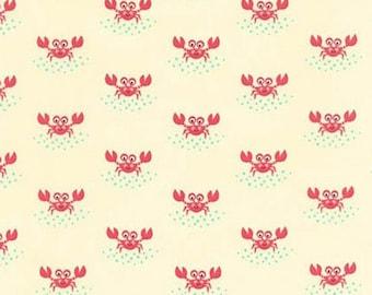 Five (5) Yards -Beachy Keen Crab Fabric by Robert Kaufman ACY-15895-14 Natural