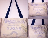 Vintage Sugar Bag and Denim Purse Shoulderbag Godchaux's Pure Cane Sugar Feedsack Upcycled Fashion