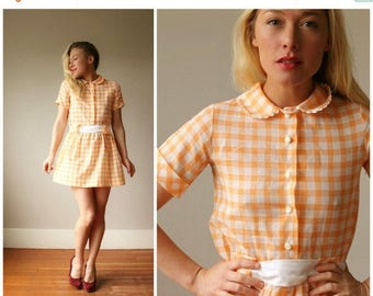 SPRING SALE 1960s Sherbert Plaid Dress~Size Extra Small or Girls Size 10/12