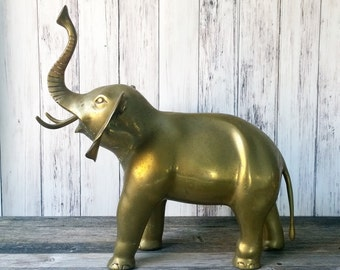 Elephant statue Large Elephant brass elephant Good Luck Elephant Figurine Trunk Up Elephant Doorstop