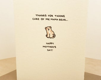 Thanks For Taking Care of Me Mama Bear... Happy Mother's Day greeting card cute adorable made in Canada stationery Mother Mama love Mommy