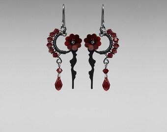 Red Swarovski Crystal Steampunk Earrings, Siam Swarovski Crystals, Statement Earrings, Steampunk Jewelry by Youniquely Chic, Thanatos II v10