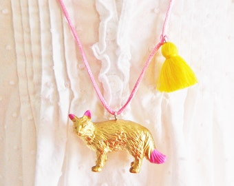 Kids Cat Necklace. Tassel Necklace. Gifts for Cat Lovers. Cat Jewelry. Gold Cat. Gifts for Little Cat Ladies. Boho Necklace. Kitty Necklace.