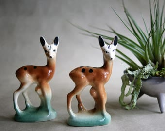 Vintage Baby Deer Firgurines Twin Fawns Glazed Pottery Spring Decor Animal Figures