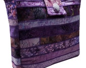 Large Batik Purse in Shades of Purple Fabrics