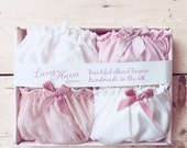 ON SALE 4x Panties Gift Box/ lingerie set/ ethical & sexy underwear/ bamboo, organic cotton, bridesmaid, satin, cream, frilly, pink, bridal,