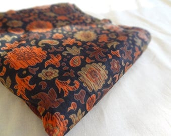 Mid Century Modern Fabric. Orange. Jet Black. Vintage Fabric