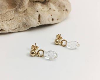 Gold Filled Swarovski Crystal Stud Earrings - Clear - (E378GF)