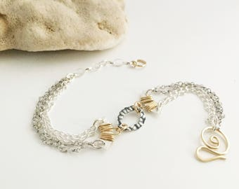 Mixed Metal & Labradorite Curved Bar Bracelet (B209SG)  - Sterling Silver, Gold Filled, Gemstone, Chain - Handcrafted by cristysjewelry