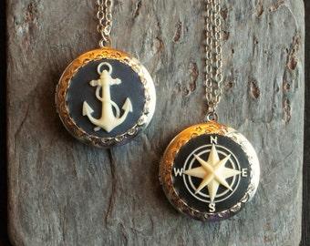 Nautical cameo locket, cameo necklace, compass locket, anchor locket, antique silver locket, cameo jewelry, unique holiday gift ideas