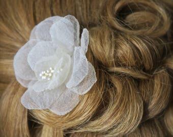 Silk Bridal Headpiece, Silk Bridal Headpiece, Wedding Hairpiece Wedding Flower Hair Comb, Bridal Hair Accessory, Wedding Hair Accessories