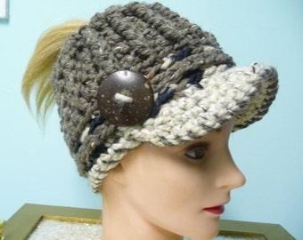 Messy Bun Ponytail Crocheted Hat Newsboy Ready to Ship