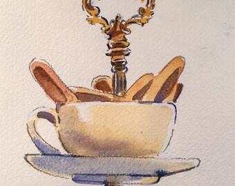 Original watercolor Tea At The Ritz Paris #6