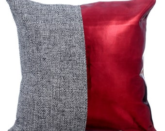Burlap Decorative Throw Pillow Cover Accent Pillow Couch Sofa Leather Pillow Case 16x16 Red Metallic Faux Leather Pillow - Red Light