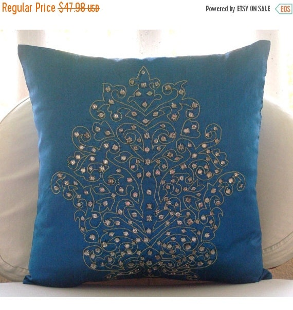 15% HOLIDAY SALE Damask Royal Blue - Euro Sham Covers - 26x26 Inches Euro Sham Cover with Damask Embroidery