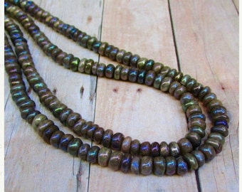 Mystic Rainbow Moonstone Rondelle Beads, 7mm Natural Mocha Gemstones 16 Inches