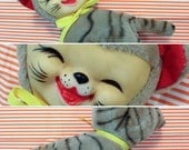 Vintage Japan Yoshi Pet Sweet Plush Rubber Face Striped Fur Cat Rushton Type