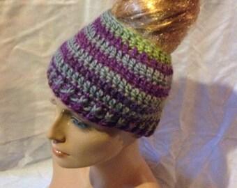 SALE - Punkish Top knot/Messy Bun Hat