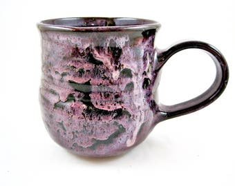 20 oz Purple coffee mug, large handmade stoneware mug, ceramic tea cup, gift for her - In stock