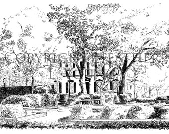 Troup Square Savannah Pen and Ink Black and White Fine Art Print