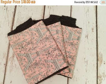 50% OFF Pink and grey Paris print with black Chenille  Burp Cloth SET OF 3