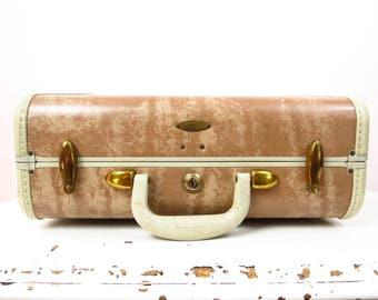 Vintage Luggage | 1940s Samsonite Beige Marbled Small Suitcase
