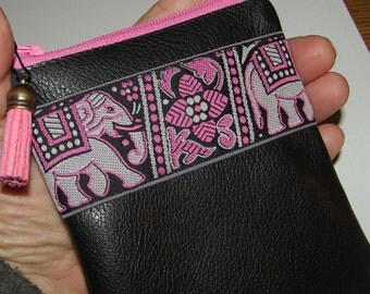 Black & Pink LEATHER,Embroidered Elephant Trim, Coin Purse