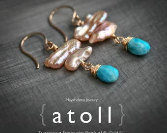 Atoll - 14k Gold Fill Wrapped Turquoise and Pearl Dangle Earrings - December Birthstone
