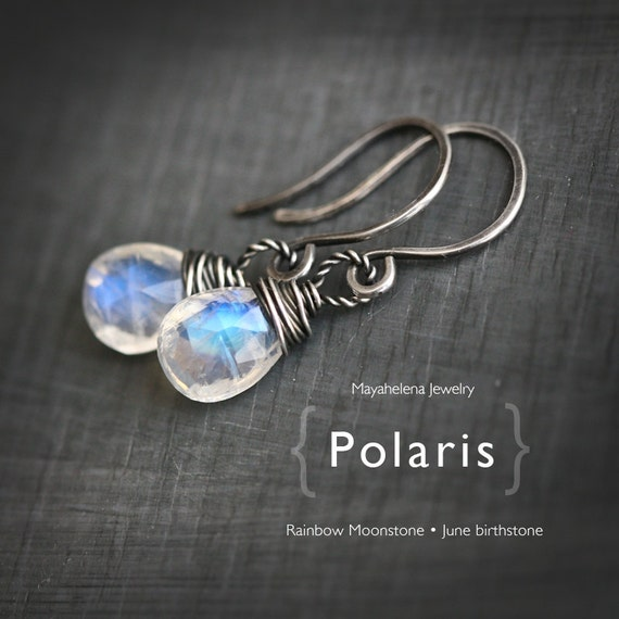 Polaris - Rainbow Moonstone - Wire Wrapped Faceted Briolette  Earrings