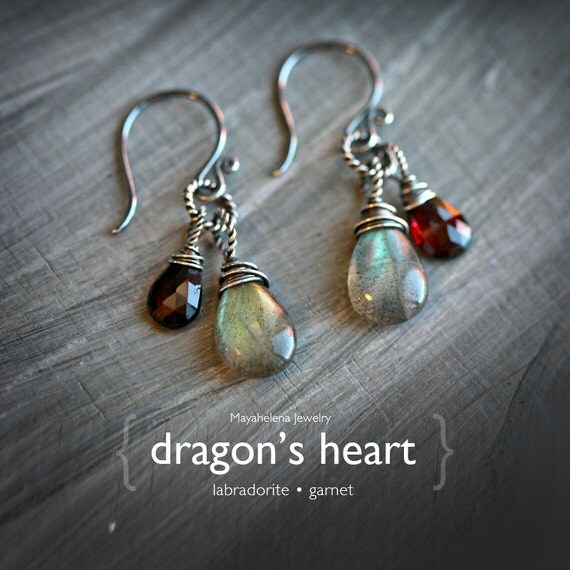 Dragon's Heart - Labradorite and Garnet Wire Wrapped Sterling Silver Earrings