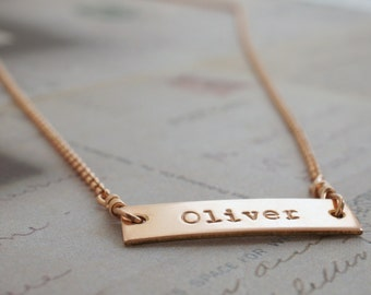 Personalized Bar Necklace - 14K Rose Gold Filled by Eclectic Wendy Designs
