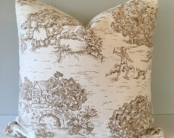 Brown and White Toile De Jouy Throw Pillow 18x18