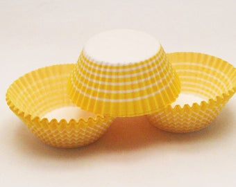 48 Yellow & White Stripe Carnival Standard Size Cupcake Liners Baking Cups Supplies Jenuine Crafts