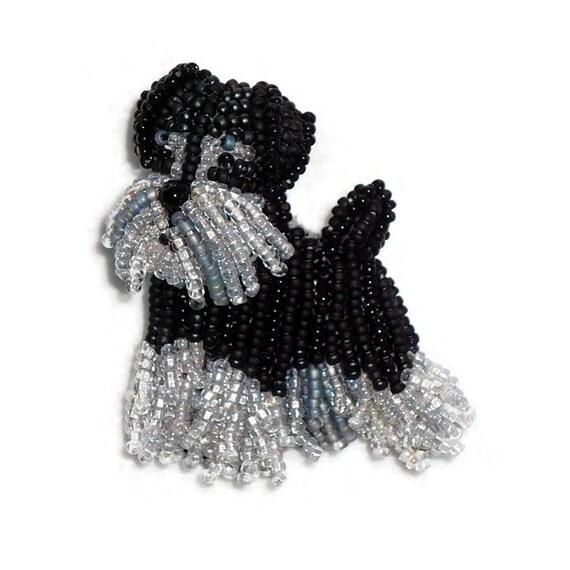 MINIATURE SCHNAUZER keepsake beaded dog pin pendant art jewelry (Made to Order) Free US Shipping