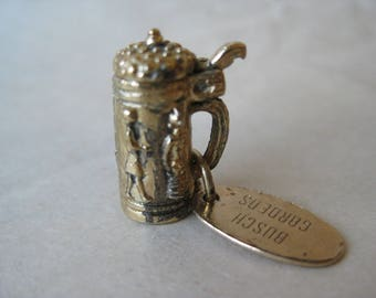 Beer Stein Bush Gardens Gold Sterling Charm Silver Vintage 925 with Tag Vermeil