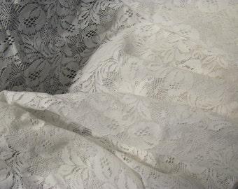 Vingtage Floral Stretch White Lace Table Decor, Wide Lace Yardage, Wedding, Boutiques, Home Decor, 52 x 56