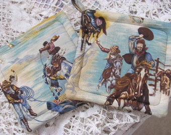Western Cowboy Horse Fabric Pot Holders, Set of Trivets