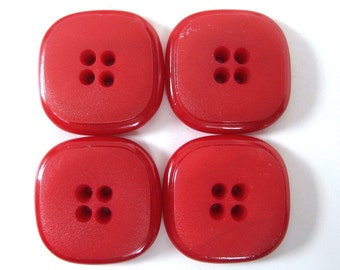 4 Vintage 1.25 Inch Red Square Sew Through Buttons