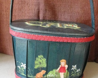Vintage basket purse Dark green with decoupage decoration CAS monogram on lid Made by the E's purse or lunch box